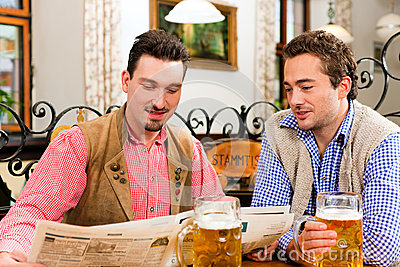 Two friends in Bavarian pub