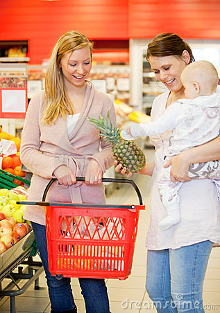Free Two Friends Buying Groceries With Baby Royalty Free Stock Photos - 19153988