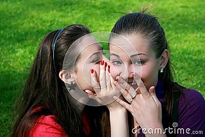Two friends gossip