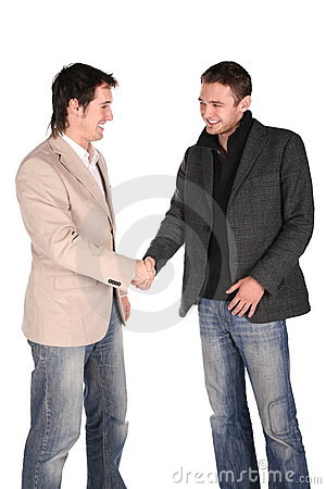 Two friends handshake