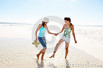 Two friends having fun at the beach