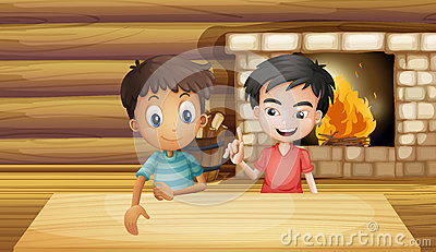 Two friends inside the house with a fireplace