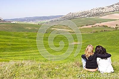 Two friends in a meadow