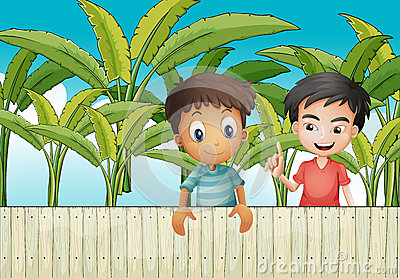 Two friends near the wooden fence