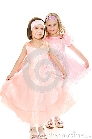 Two friends in a pink dress