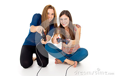 Two friends playing video game