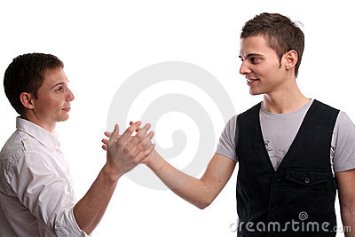 Two friends shaking hands