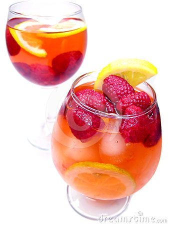 Two fruit cocktail drinks with strawberry