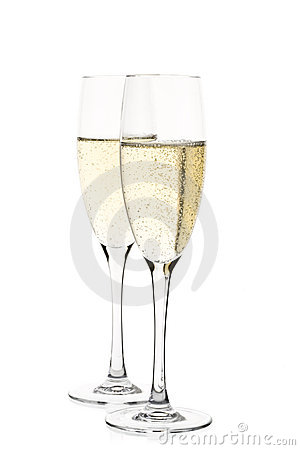 Two full champagne glasses