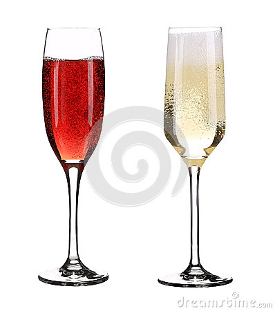 Two full glasses of champagne.