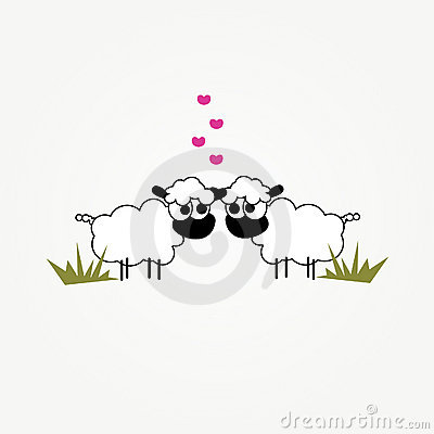 Two funny cartoon sheep in love