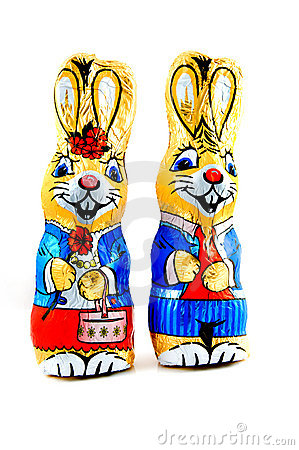 Free Two Funny Chocolate Bunnies Stock Photography - 12908182