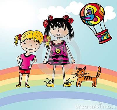 Two funny girls on rainbow