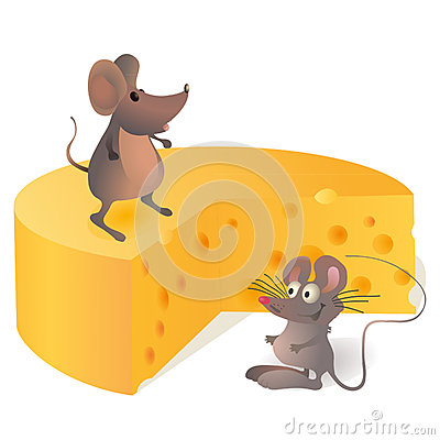 Two funny mouses near the big cheese