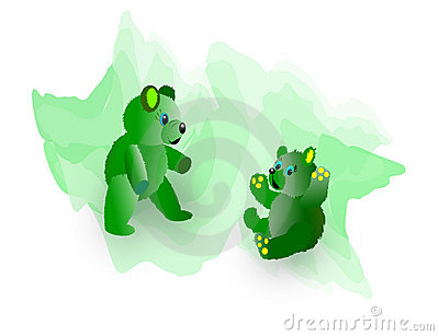 Two Fuzzy Green Teddy Bears