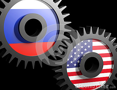 Two gears with the flags of usa and Russia