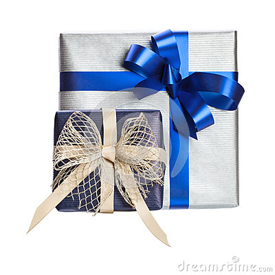Two gift box with blue ribbon