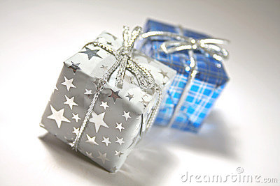 Two gifts or presents, blue/silver