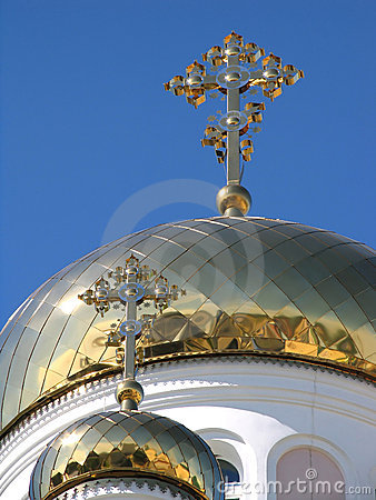 Two gilded dome orthodox church