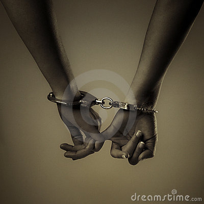 Free Two Girl Hand And Handcuffs Stock Image - 20032041