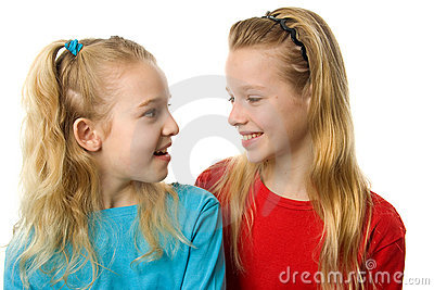 Two girl laughing