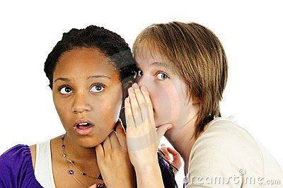 Two girlfriends gossiping