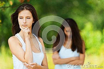 Two girlfriends quarrel