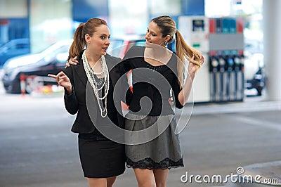 Two girlfriends talk