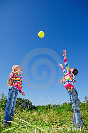 Two girls with ball