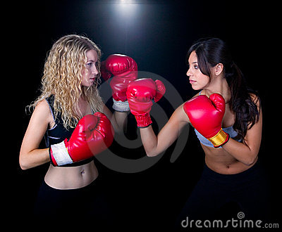 Two Girls in a Boxing Match