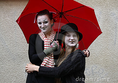 Two girls clown Editorial Photo