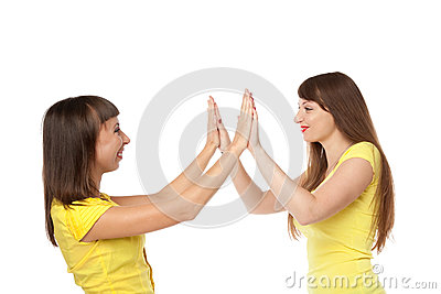 Two girls communicating among themselves