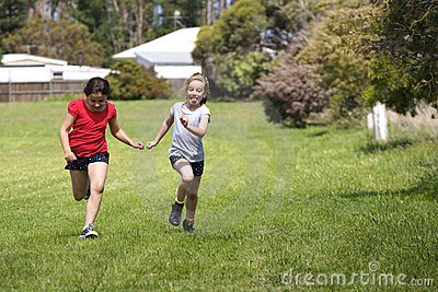 Two girls in cross country race