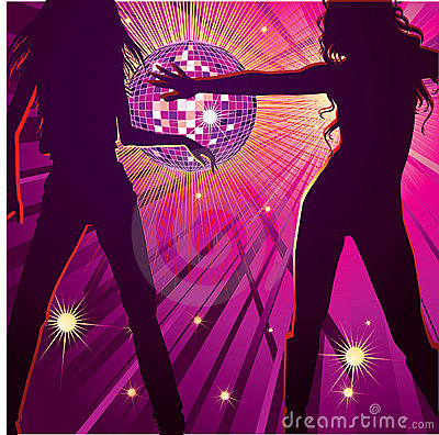 Two girls dancing in night-club,