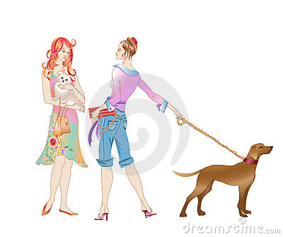 Two girls with the dogs