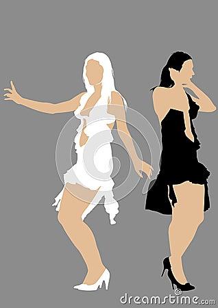 Two girls in dress