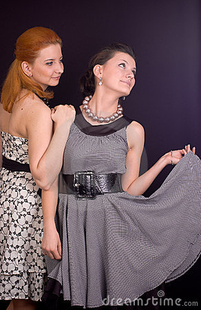 Two girls in dresses