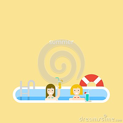 Free Two Girls Drink A Cocktail In The Pool. Stock Images - 105996084