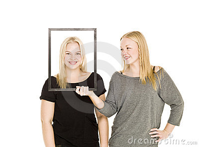 Two girls and a frame