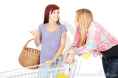 Two girls friends with shopping trolley