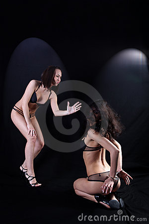 Two girls in hard relationship