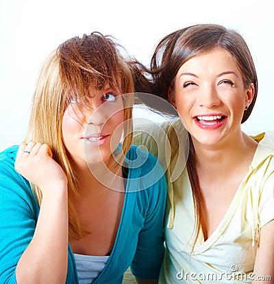 Two girls having fun