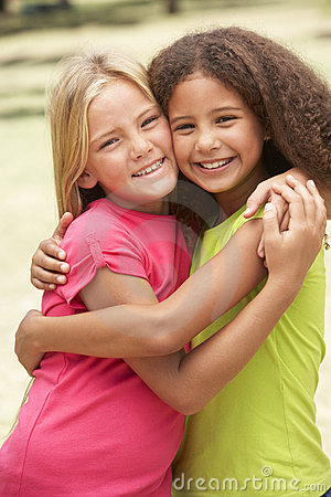 Free Two Girls In Park Giving Each Other Hug Stock Photos - 14687283