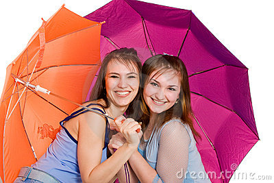Two girls lwith umbrella