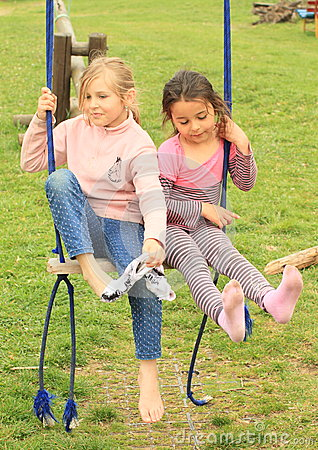 Free Two Girls On Swing Royalty Free Stock Photos - 39505908