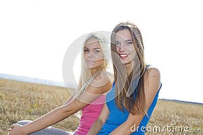 Two girls outside, best friends