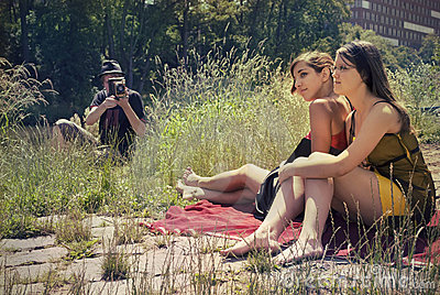 Two girls and photographer