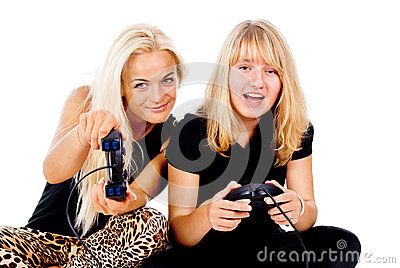 Two girls play video games
