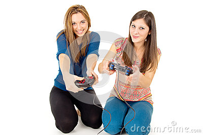 Two girls are playing video games isolated