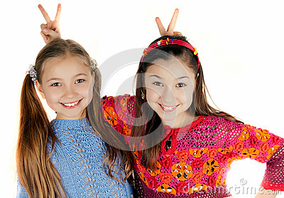 Two girls put to each other horn